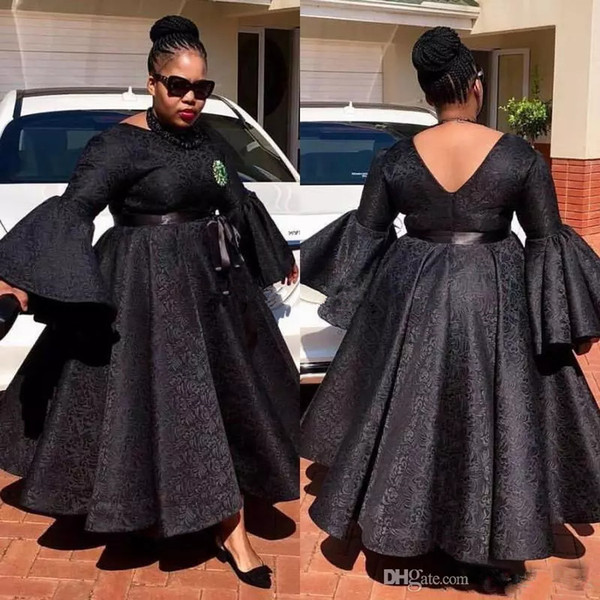 Aso Ebi black Prom Dresses Plus Size Lace Ball Gown Ankle Length Party Dress Sexy South Africa Long Sleeve Jewel Evening Gown Cheap