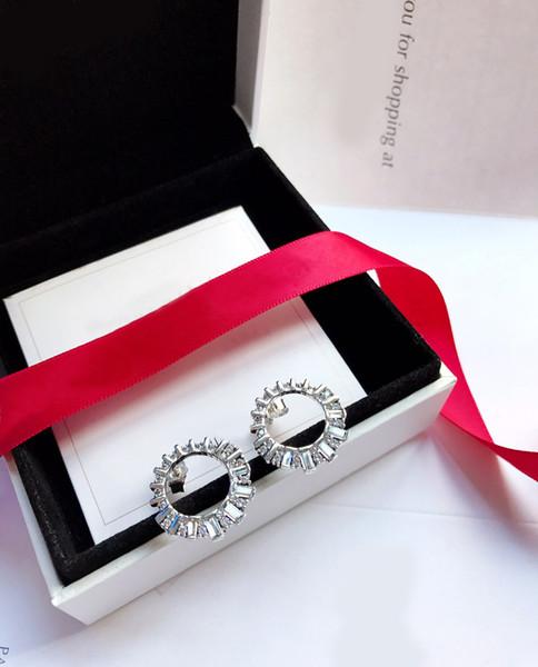 Cristales de Swarovski Winter `Nuevos productos de adorno Glacier Beauty 925 Pendientes de plata pendientes de moda selección para dama elegante