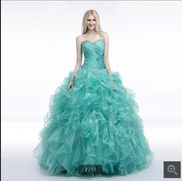 Vestido De Festa de hortelã vestido de baile de organza ruffled prom strapless vestido com babados querida pescoço cristais doce 16 quinceanera prom vestidos