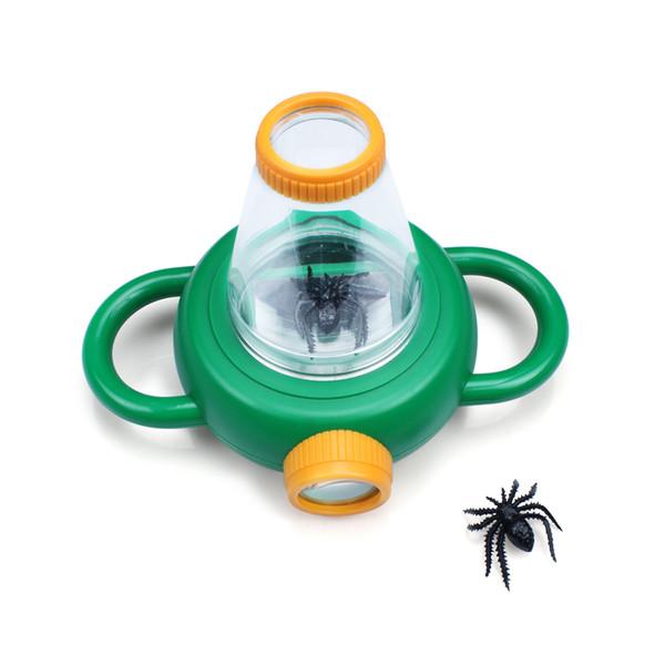 Insetto Catcher Observation Viewer 4X Lente d'ingrandimento Bug Lente d'ingrandimento Giocattolo da esterno con Spider per bambini Bambini Colore verde