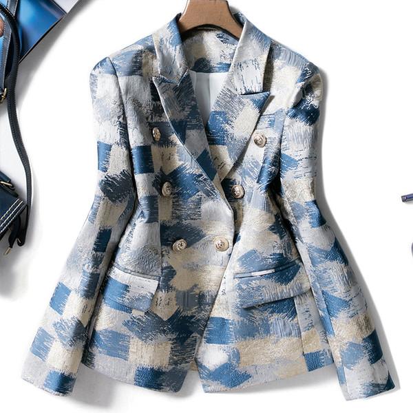 2019 New Designing Runway Suit Blazer Coat Office Women Notched Double Breasted Plaid Graffiti Jacquard Printing Blazer Jacket