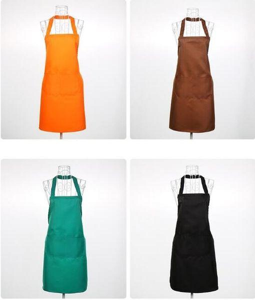 best selling Multi Color Fashion Apron Solid Color Big Pocket Family Cooking Home Baking Bib Art Apron