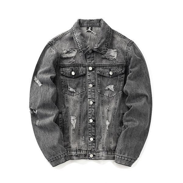 Mens Designer Jacket Denim High Street Brand Men's jackets With Embroidered Letters Wash Water Holes Old Style Denim Jacket