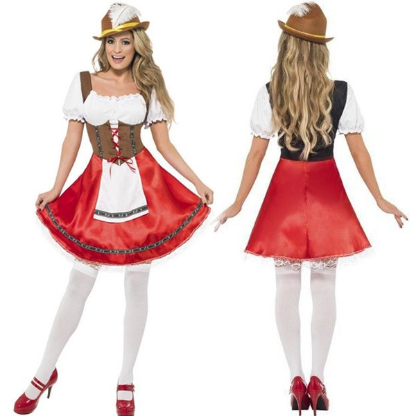German Oktoberfest Waitress Outfit Maid Costume Halloween Beer Festival Stylish New Fashion Costumes Costume Cafe Clothing