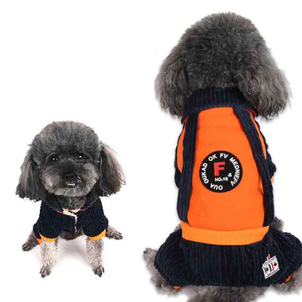 Winter Fashion Solid Color Pet Clothes Winter Small Dog Casual Warm Jacket Small Dog Four-leg Cotton Clothes Pet Supplies