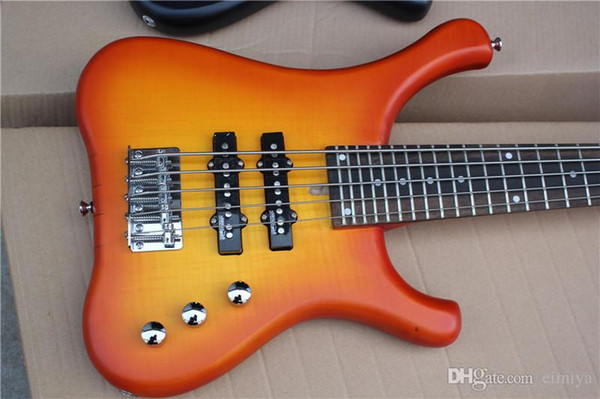 Orange 5 Strings Short Chord Electric Bass Guitar with Flame Maple Veneer,Neck-thru-body,81cm,offering customized services
