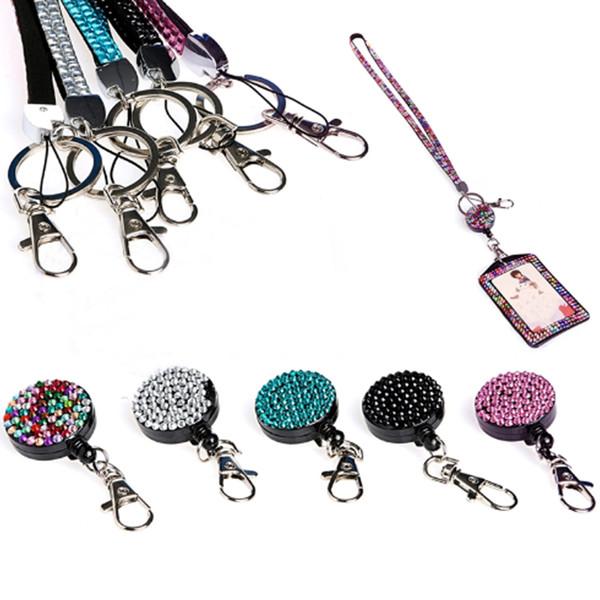 Strass bling colhedor de cristal colar de diamantes colar de pescoço com crachá de identificação horizontal alinhado titular e chaveiro para cartão de identificação celular