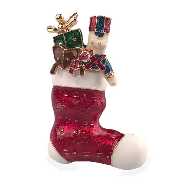 European and American Christmas Brooch Red Drops Oil Red Gift Boots Brooch Cartoon Elk Bear Socks Pin