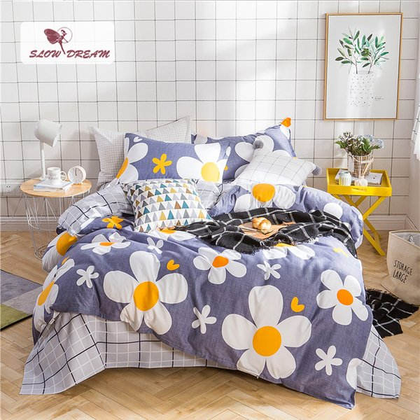 SlowDream Flower Bedspread Duvet Cover Set Flat Sheet Pillowcase Complete Set Bed Cover Decor Home Textiles Bedclothes Bed Linen
