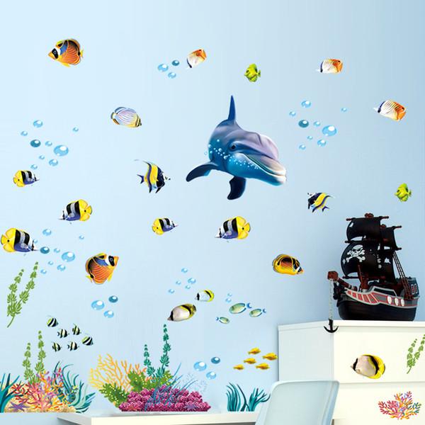 Su geçirmez banyo mutfak duvar sticker okyanus derin su deniz ev dekor çıkartmalar yunus balık dekoratif çıkartması duvar çocuk odası