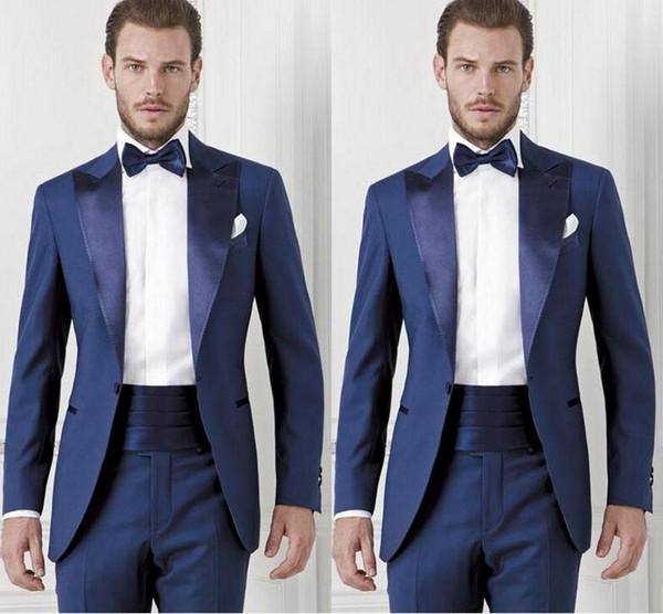 2019 Handsome Dark Blue Groom Custom Made Slim Fit Groomsmen Men Wedding Suits Prom Formal Occasion Tuxedos ( Jacket+Pants+Bow Tie+Girdle)77