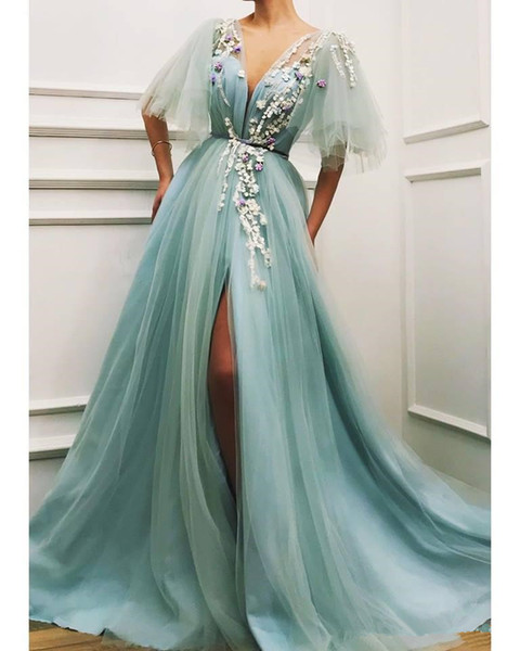Mint Pale Green Evening Wear Gowns with Half Sleeves 2019 V-neck 3D Floral Lace Split Plus Size Women Prom Party Dresses