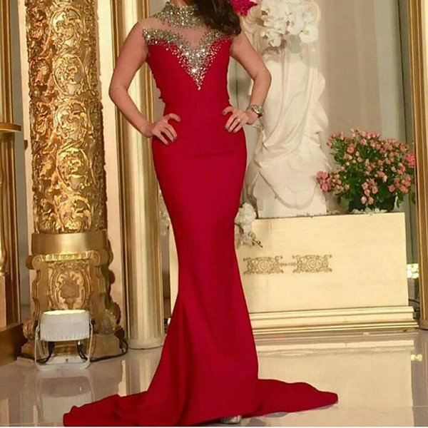 Golden Sequins Red Mermaid Evening Dresses High Neck Sleeveless Court Train Formal Party Gowns Arabic Dresses