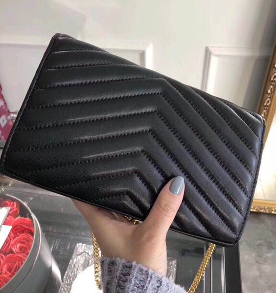 2019 Designer Handbags sheepskin caviar metal chain gold silver Handbag Genuine Leather bag Flip cover diagonal Shoulder Bags With BOX