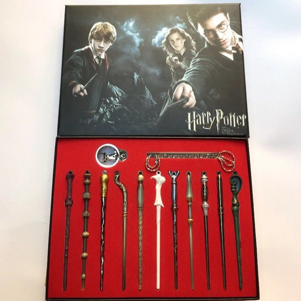 New 11PCS/Set Harry Potter Voldemort Magic Wand Set Magic Tricks Kids Gift Toys Halloween Cosplay Sirius Magic Wand Gift Box Packing