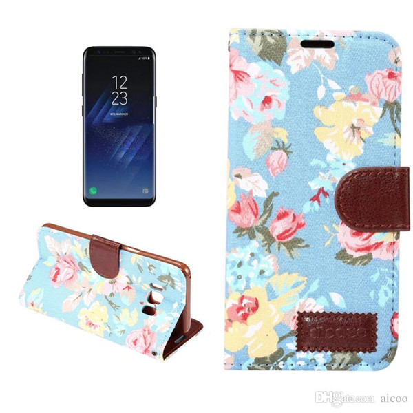 Flower Painted Jean Cloth Wallet Cover Flip Leather Case Cover With Card Slot Holder for Iphone XR XS Max X 8 7 6 Plus Samsung Note 9 OPP