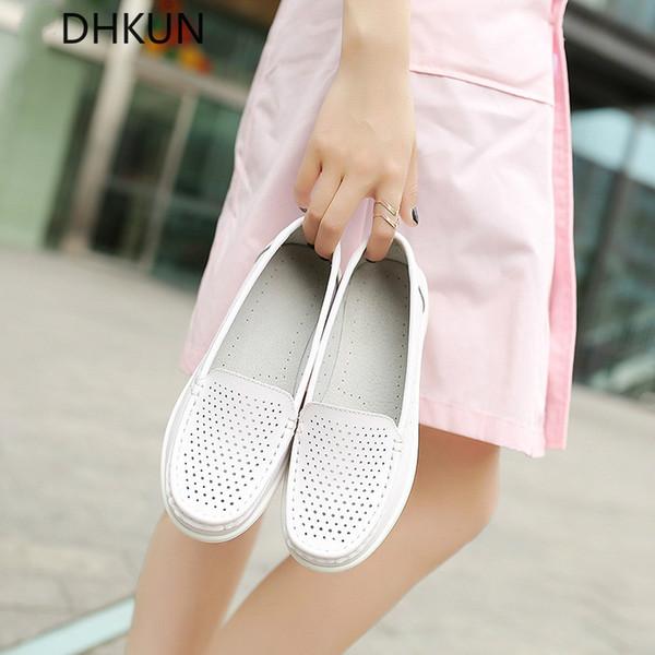 Kadın Loafer'lar Ayakkabı Hakiki Deri Yürüyüş Ayakkabı Kayma Beyaz Sneakers Casual Bale Daireler Hastane Hemşire
