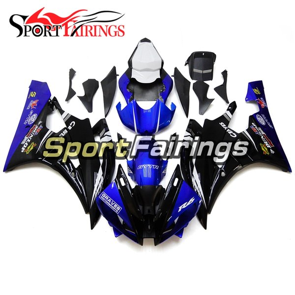 Shiny Black Blue With White Seat Cover Cowlings For Yamaha YZF-600 R6 2006 2007 ABS Plastic Fairing 06 07 R6 Motorcycles Hull Covers