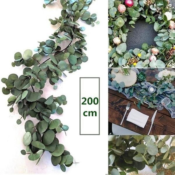 2M artificielle Vert Eucalyptus Garland Feuilles de vigne Faux Vines rotin Plantes artificielles Ivy mur Couronne Décor Décoration de mariage
