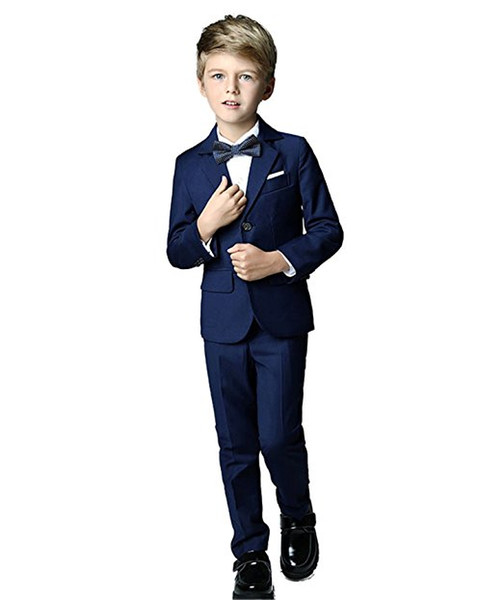 Boy Suit Notch Lapel Custom Made Navy Blue Kid Suit Wedding /Prom/Dinner/Leisure/show Children suit ( Jacket+Pants+Shirt+Tie ) M1313