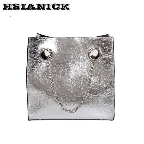 2019 Fashion 2018 female spring and summer new simple design gold black silver big tote bag shoulder bag messenger bag chain slung handbag