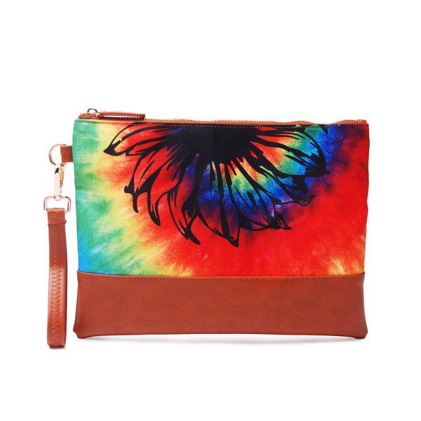 29.8*22.8cm Tie Dye Cosemtic Bag Rainbow Canvas Wristlet Handbag Printed Flat Women Accessories Designer Clutch DOM1061333