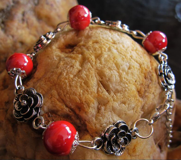 China Folk Miao Silver Ceramic Beads Flower Handnmade Jewelry Strings Charm Bracelet for Ladies 9 Colors Mix Wholesale