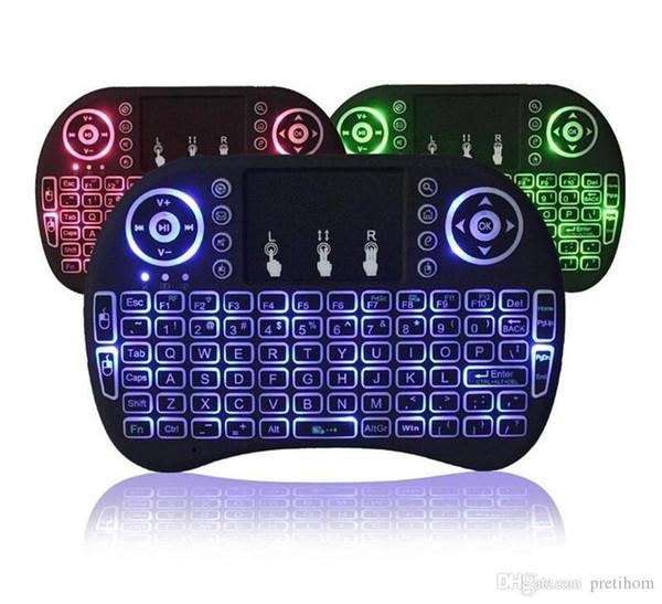 Air Mouse RII I8 Mini clavier sans fil Android tv box télécommande claviers de rétroéclairage utilisés pour s905W S912 Tablet XBox tv gratuite