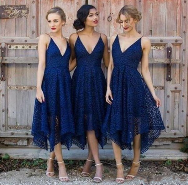 Plus Size Royal Blue Lace Bridesmaid Dress 2019 V Neck Backless Tea Length Maid of Honor Country Bridemaids Wedding Guest Gowns