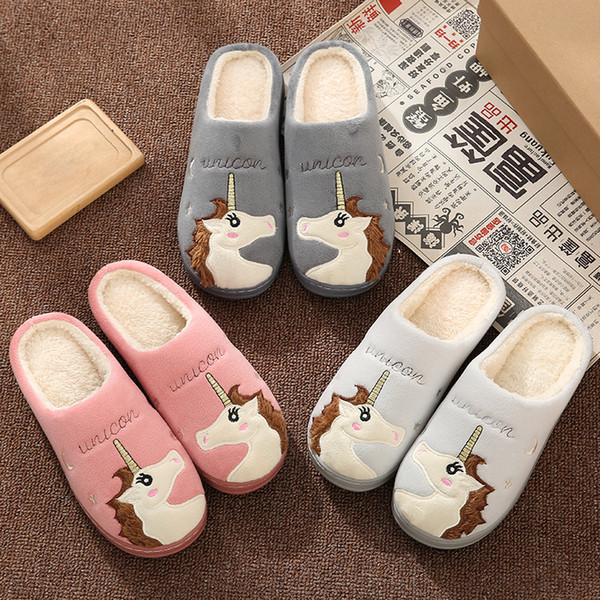 Cute Unicorn Women Winter Home Slippers Cartoon Embroidery Soft Warm House Shoes Men Women Boys Girls Indoor Bedroom Slippers