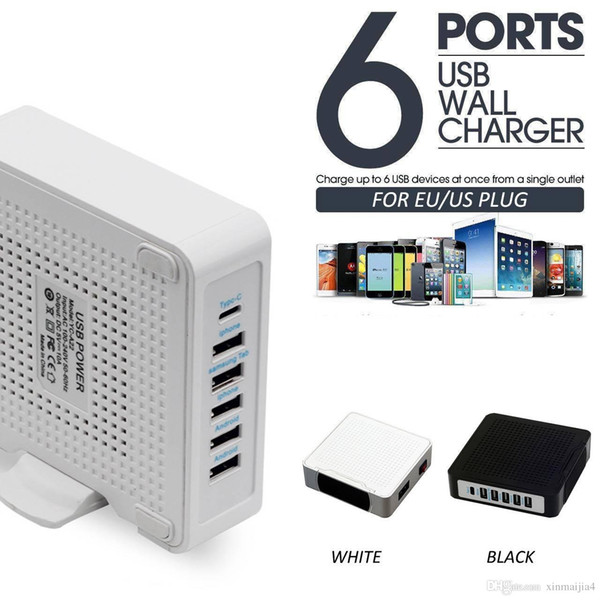 6 Ports 10A USB Type-C Desktop Multi Fast Charging Wall Charger Station AC Power Adapter Travel US/EU Plug