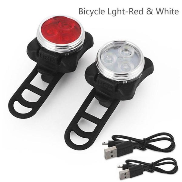 ISHOWTIENDA Bike Light Frame Bicicleta Bike 3 LED Head Front con USB Recargable Tail Clip Lámpara Accesorios Luz de bicicleta