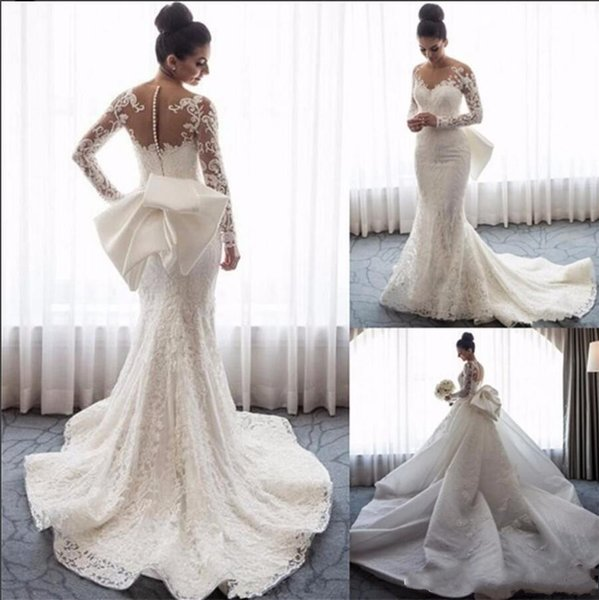Vestidos De Casamento Trem Destacável de luxo 2019 Sereia Mangas Compridas Oco Voltar lace Applique Lantejoulas Arcos de Noiva Vestidos De Noiva Plus Size