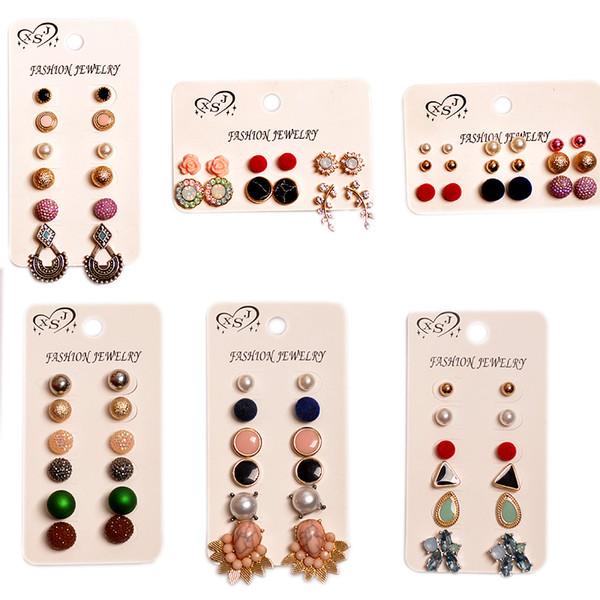 Fête d'anniversaire de la fête d'anniversaire de filles en gros nouvellement conçu femmes bijoux beau mashup 6 paires / set boucles d'oreilles cadeau Livraison gratuite