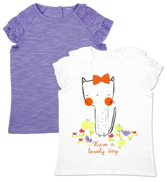 Les filles t-shirt top pack 2 ont beau jour chaton tee enfants 6 mois - 1.5 ans hommes femmes mode unisexe tshirt