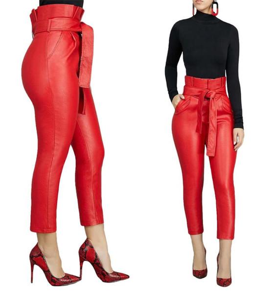 Europäische und amerikanische dicken PU-High-Taille Hose Modische Personality Rot und Schwarz PU-Hosen mit Bund Pendler