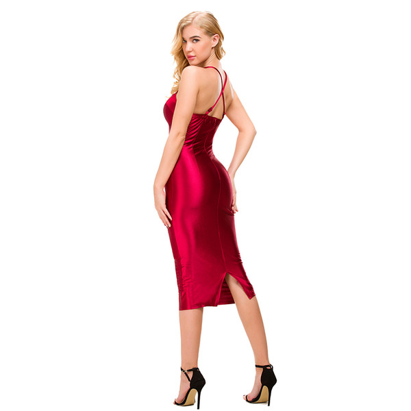 c46c5db961d0 Sexy Spaghetti Straps Bodycon Red Party Dress Open Back Satin Gold Black  Tight Package Hips Sleeveless Split Midi Dress Q190424