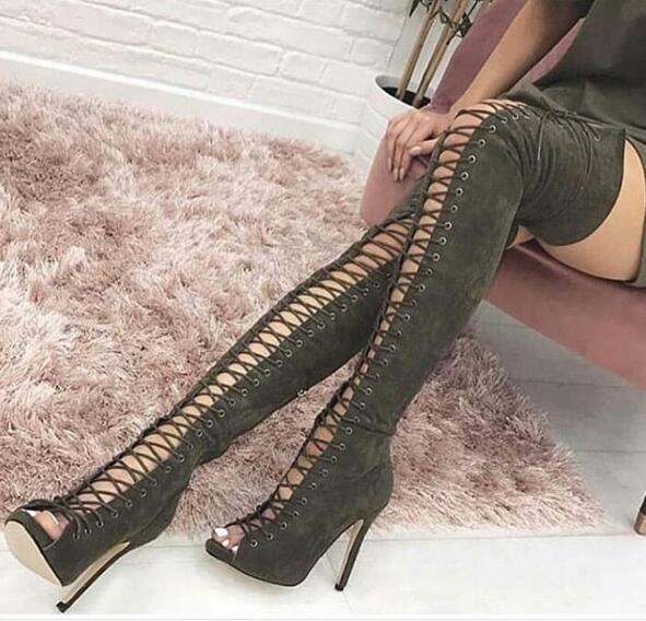 Sexy bout ouvert lacets sur les bottes au genou armée bottes hautes en daim noir et vert pour femme talons de gladiateur d'été