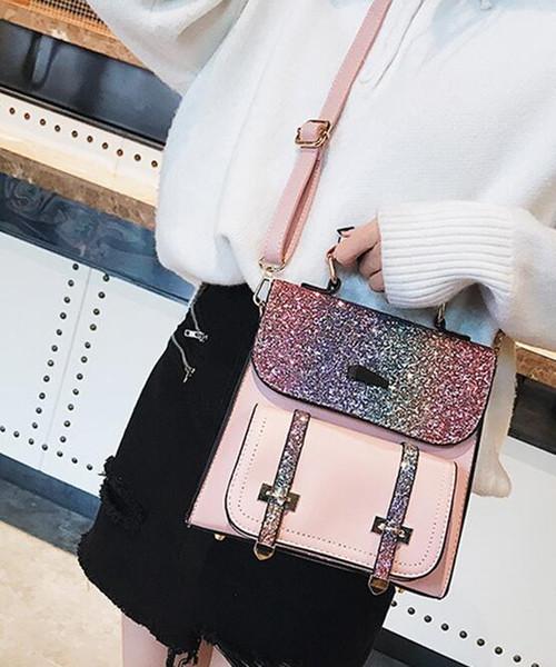 Rucksack weiblich 2019 neue Mode Student Rucksack Pailletten Reisetasche Trend Taschen Umhängetasche