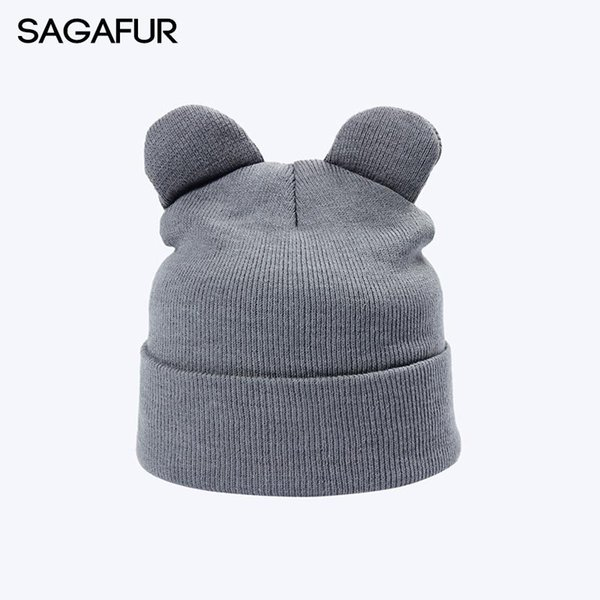 8 Solid Color Winter Knitted Hats For Girls Cap Women's Beanies With Cat Ears Fashion Horn Hat Warm Plain Cute Skullies Bonnet