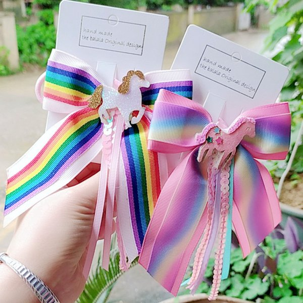 Unicorn Bows Rainbow Hair Bands Kids Hair Clip Jewelry Tassel Bow Elastic Ribbon Hairband Children Gifts Ponytail Girls Hair Rope HHA438