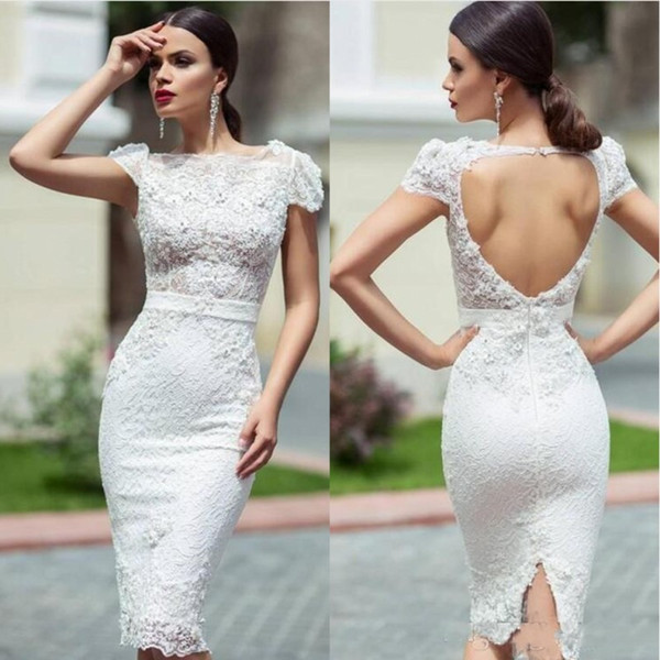 New 2020 Unique Lace Wedding Reception Dresses With Knee Length Sheath Cap Sleeves Hollow Back Short Garden Wedding Dresses Bridal Gowns Sleeved