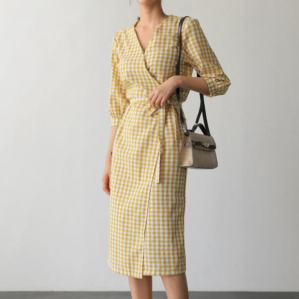 Cotton Linen Plaid Summer Dress Korean design One piece Open Slit Bandage Slim INS Prairie Chic Women Casual Midi Dress