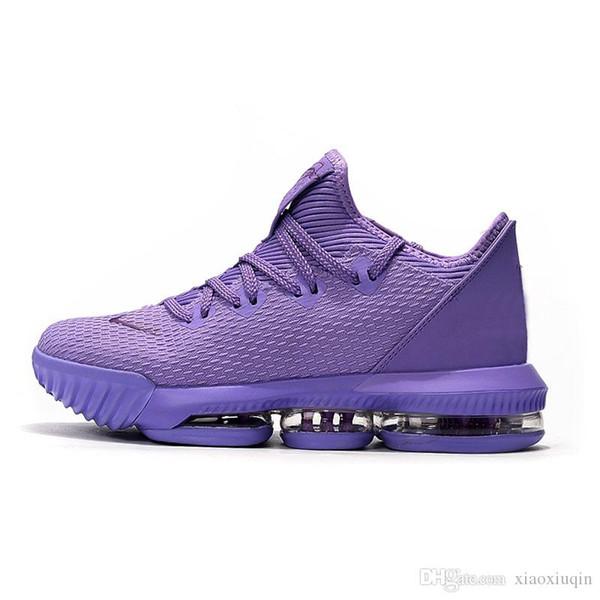 Mens lebron 16 basse scarpe da basket per bambini giovanili nuova Viola Oro Verde BHM Oreo Natale nuove lebrons 17 scarpe da ginnastica di tennis con la dimensione casella 7 12