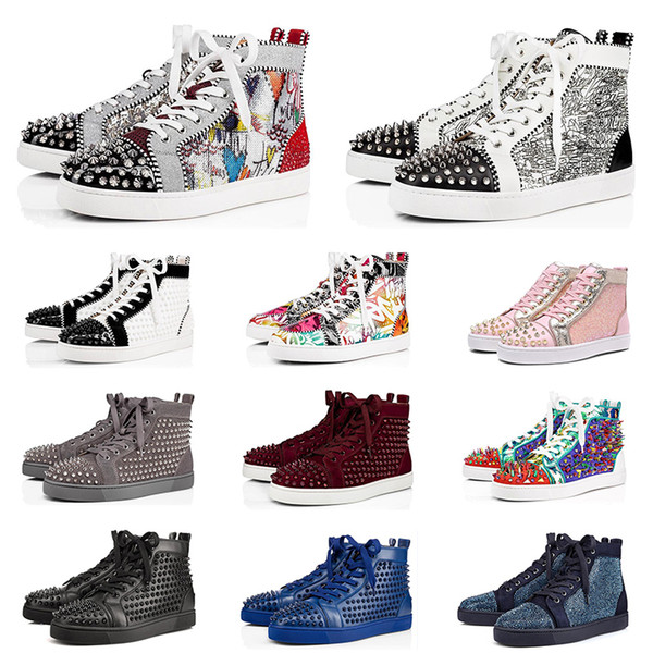 2020 designer shoes for men women fashion spike sneakers triple black white red suede leather mens trainer flat bottoms luxury shoe