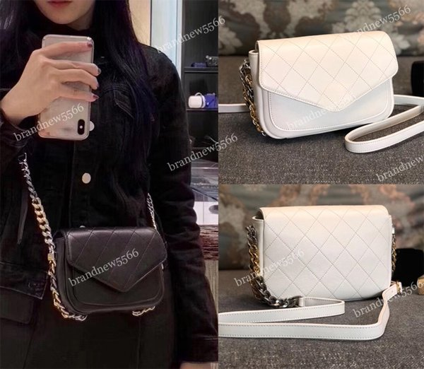 Fashion 2019 Import Calfskin Flap Bag White Women's Genuine Leather Shoulder Strap Chain Bag Black Crossbody Purse Handbags Factory Sell