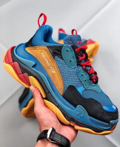 Cuña estampado de leopardo para hombre vf es Low Top Sneakers Triple S Zapatos para hombres y mujeres Zapatos casuales Tamaño 36-45