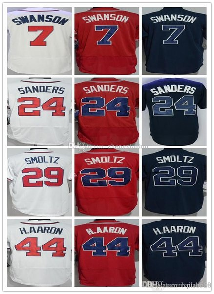 Mens 7 Dansby Swanson 24 Deion Sanders Baseball Jersey 29 John Smoltz 44 Hank Aaron Stitched Blue white red Baseball uniform