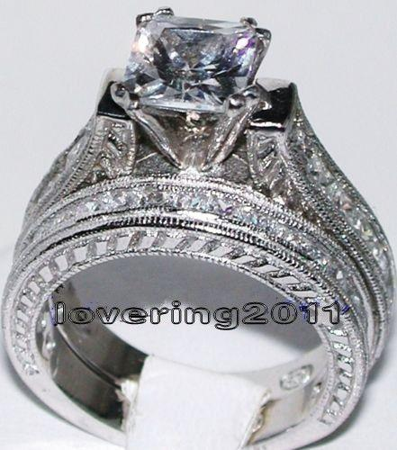 Key4fashion Size 5/6/7/8/9/10 Antique jewelry Nice princess Cut Topaz 14KT White Gold Filled GF Diamonique Wedding Ring Set for love gift