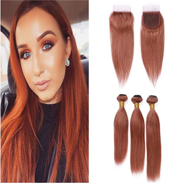 Oscuro Auburn brasileño teje recto # Cierre cordón del pelo 33 Rojo de cobre Virgen 3Bundles cabello humano y Cierre con paquetes Rojizo
